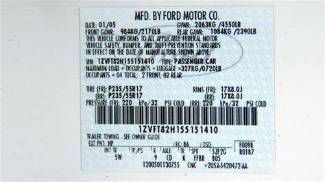 can the build date be decoded from the vin 2005 mustang