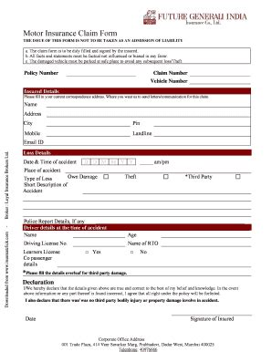 Future General Insurance Claim Form  Things That Make You