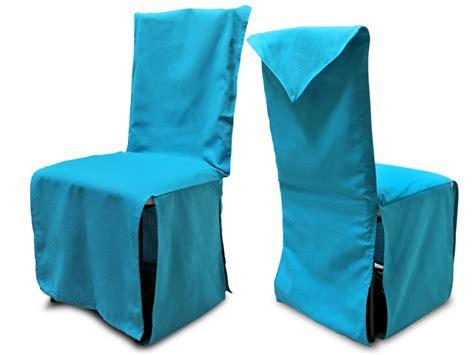 housse de chaise hauteur dossier 60 cm housse de chaise finition pointe coton couleur bleu turquoise