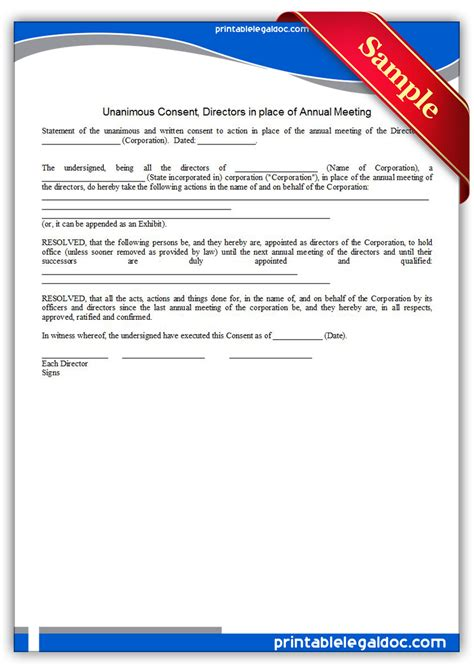 printable unanimous consent directors annual meeting