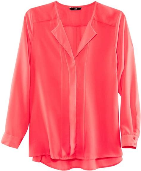h m blouses h m blouse in pink coral lyst