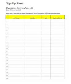 Basic Sign Up Sheet Template