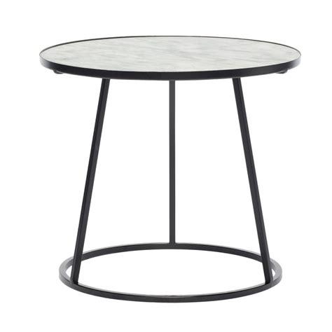table basse marbre ronde table basse ronde marbre blanc metal noir hubsch 670208