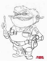 Coloring Attic Aliens Popular Template Coloringhome sketch template