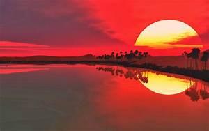 Lake, Sunset, Wallpaper