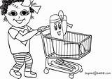 Grocery Coloring Shopping Pages Cart Drawing Gang Colouring Sketch Sadie Template Sophie Getdrawings sketch template
