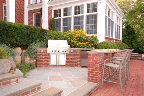 Brick & Bluestone Outdoor Kitchen-transitional-patio