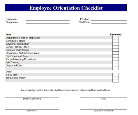 employee orientation checklist excel planner