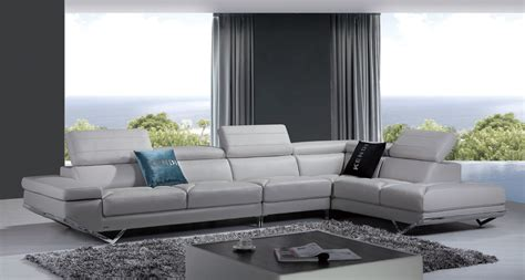 Divani Casa Quebec Modern Light Grey Italian Leather