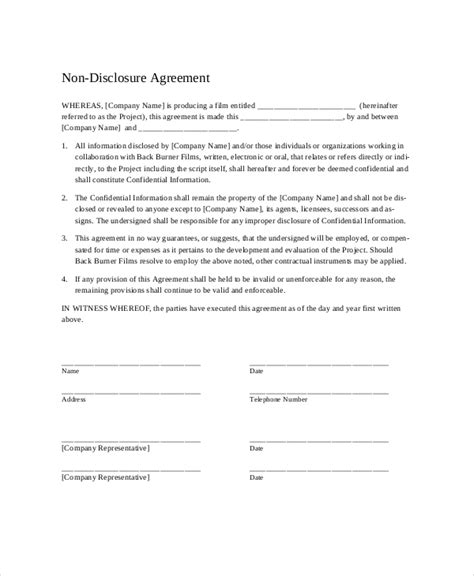 disclosure agreement templates