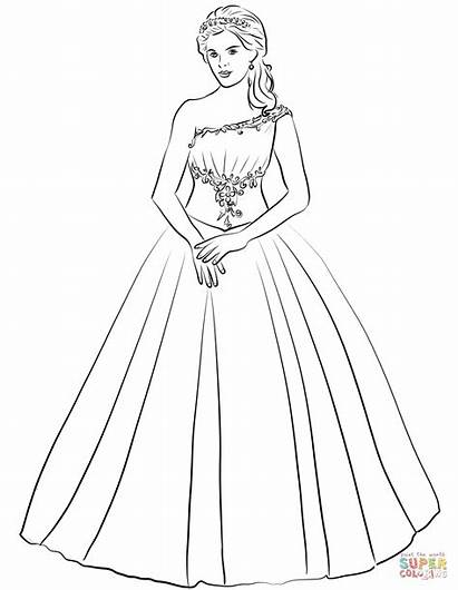 Coloring Gown Ball Quinceanera Shoulder Pages Drawing