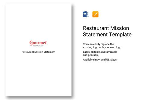 restaurant mission statement template  word apple pages
