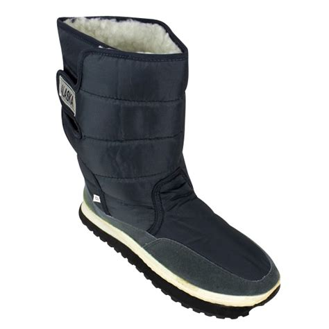 mens shearling snow quilted thermal warm winter boot