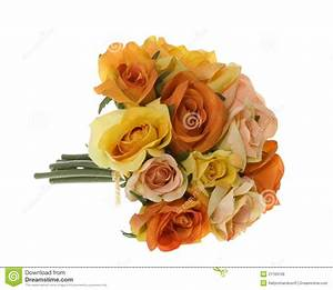 Yellow, Pink And Orange Rose Bouquet Of Flowers Stock ...