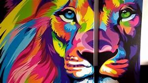 Eutisona Cuadros León de colores YouTube