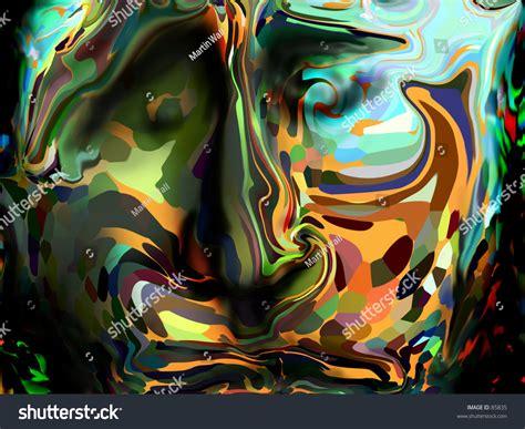 Digitally Painted Face Color Rainbow Art Stock Photo 85835