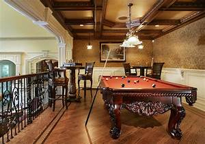 Game Room with Pool Table - Traditional - Family Room