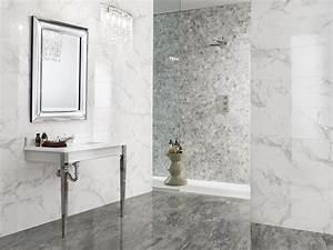 Carrelage mur salle de bain aspect marbre for Carrelage salle de bain mur
