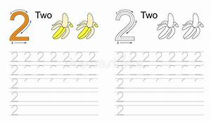 Tracing Worksheet For Letter 2 Stock Vector