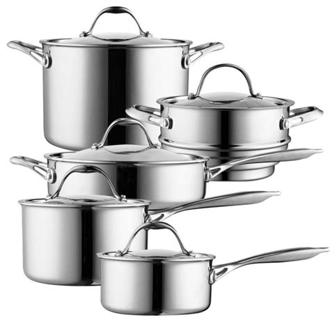 cooks standard  piece multi ply clad cookware set stainless steel contemporary cookware