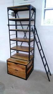 Regal Aus Leiter : b cherregal holz regal mit leiter mango metall schwarz massiv industrial design ebay ~ Orissabook.com Haus und Dekorationen