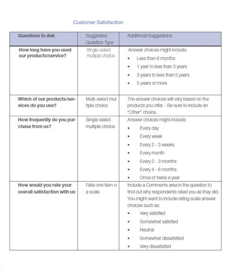 customer survey template customer satisfaction survey template 10 free pdf word documents free premium