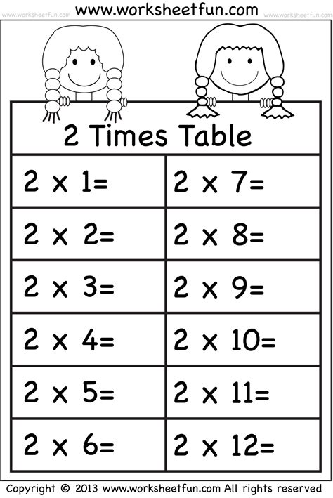 2 times table worksheet times tables worksheets 2 3 4 5 6 7 8 9 10 11