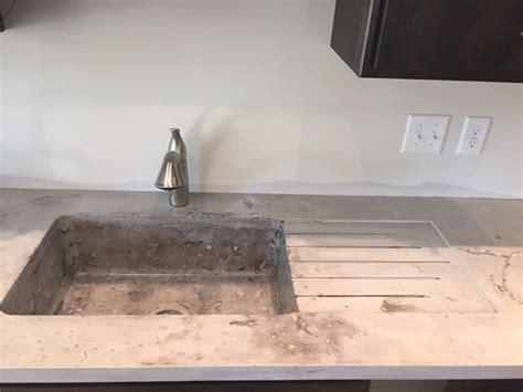 Kitchen White Concrete Counter Top Stone Look