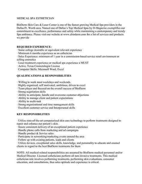 esthetician resume sle http www jobresume