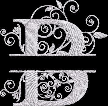 split letter alphabet machine embroidery design letter