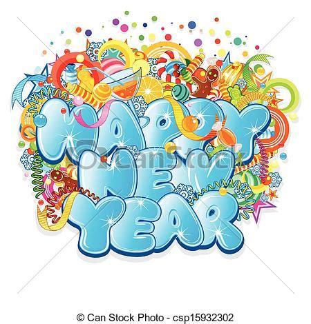 clipart anno nuovo title vettore disegno anno nuovo felice isolato