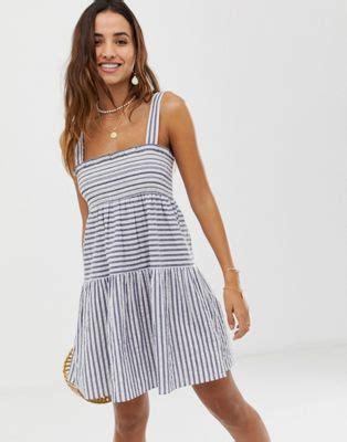 asos design trapeze cotton sundress in stripe asos