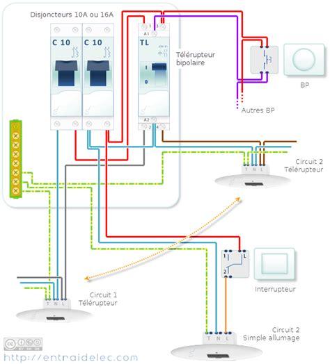 cablage electrique cuisine schéma télérupteur bipolaire avec deux circuits