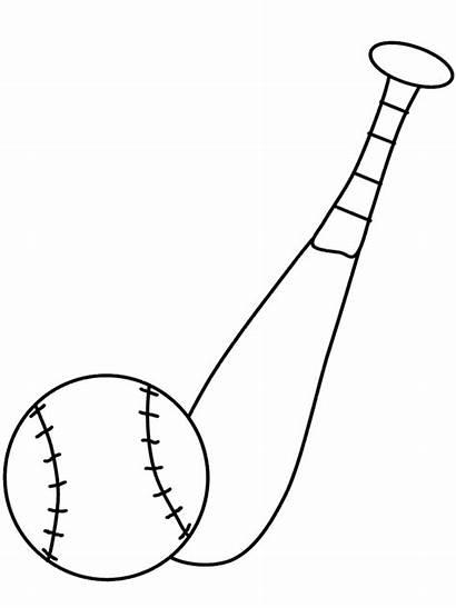 Bat Baseball Coloring Ball Pages Clipart Mlb