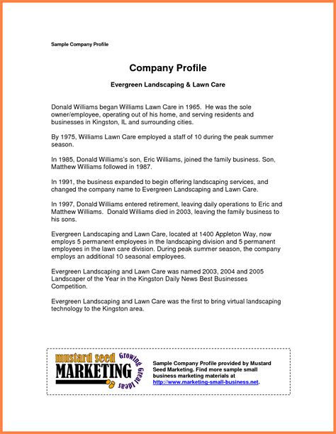 company profile exles for small business