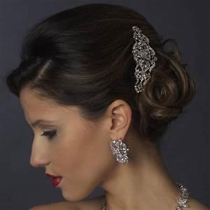 Antique Silver Rhinestone Side Comb Elegant Bridal Hair