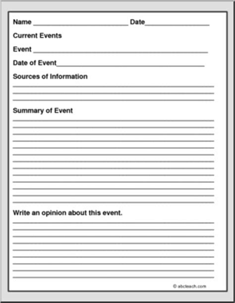 Current Event Report Form I Abcteachcom Abcteach