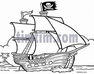 Free drawing of A Pirate Ship 3 BW from the category Boat ...