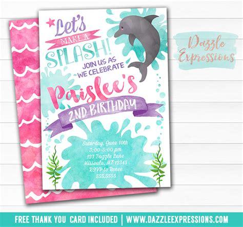 printable birthday invitations dolphins