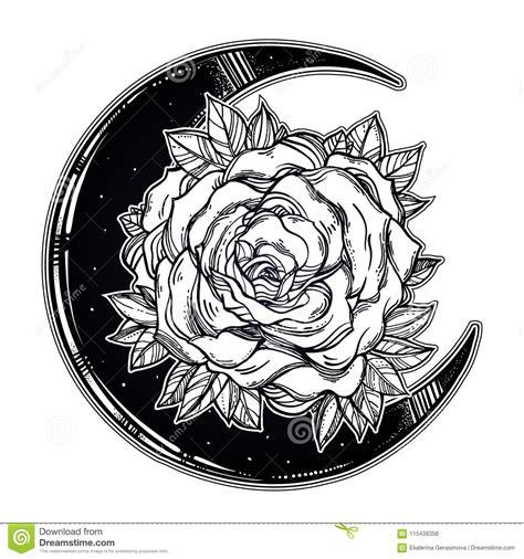 floral rose crescent moon composition stock vector illustration  element astrology
