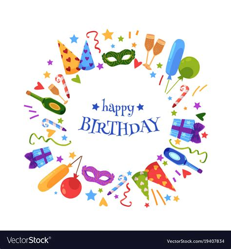 happy 1st birthday card template flat happy birthday card template royalty free vector image