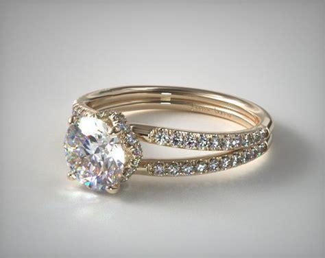 split shank ribbon engagement ring  yellow gold
