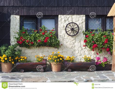 Window Potted Plants by Cottage House With Flowers Stock Photo Image 35201780