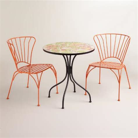 koi orange cadiz metal chairs set of 2 world market