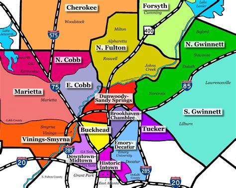 Carte Des Banlieue by Atlanta Banlieue Carte Carte De La Banlieue D Atlanta