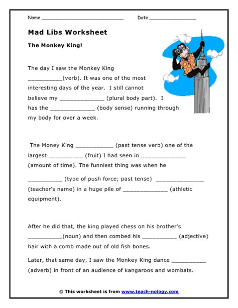 Mad Libs Worksheet  The Monkey King