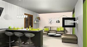 salon ouvert sur cuisine exemple dcoration cuisine With cuisine et salon ouvert