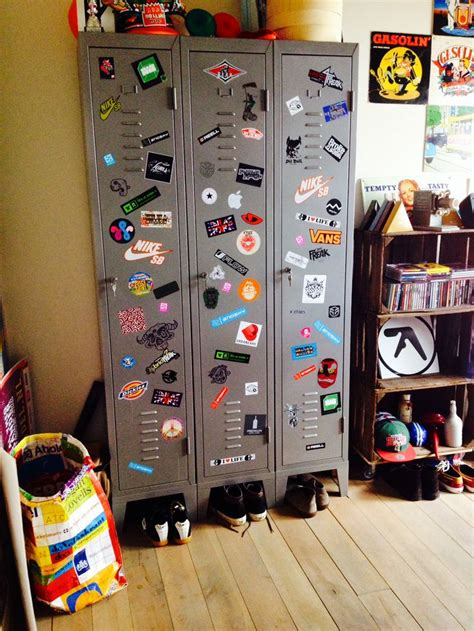 Old skool lockers with a collection of stickers on it
