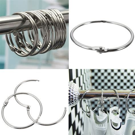 12pcs circular stainless steel shower curtain hooks