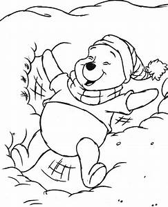 winnie the pooh christmas coloring pages - coloring winnie the pooh in snow picture